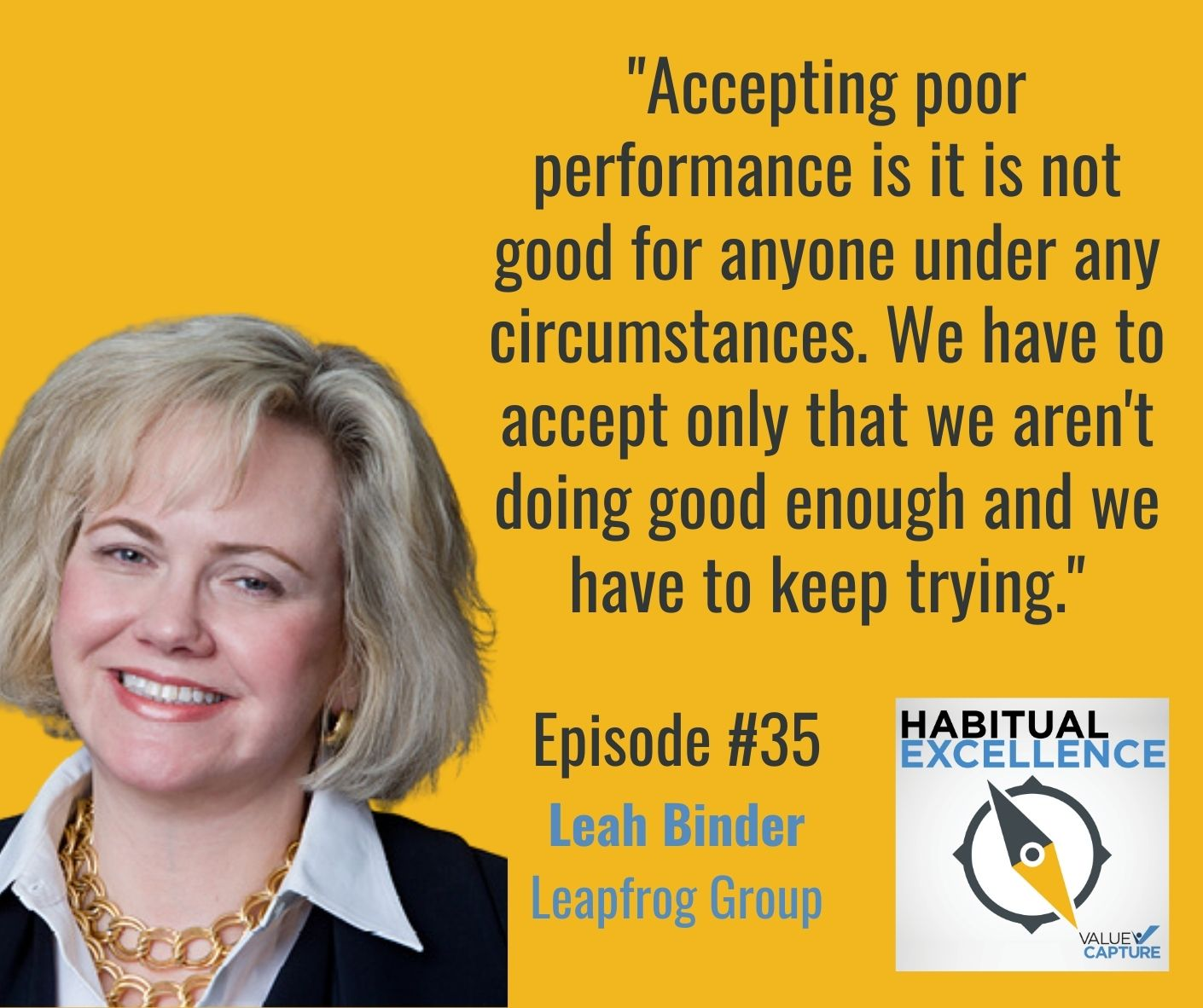 """""""Accepting poor performance is it is not good for anyone under any circumstances. We have to accept only that we aren't doing good enough and we have to keep trying."""""""